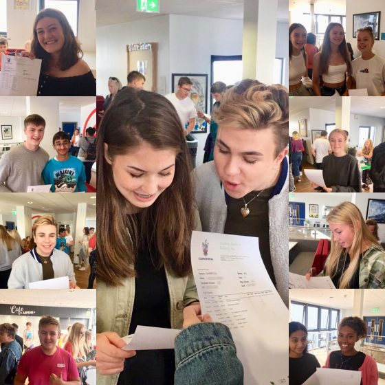 KS4 Students receiving their exam results Summer 2019